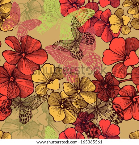 Seamless pattern with blooming geraniums and decorative butterflies. Vector illustration. - stock vector