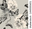 Seamless pattern with blooming pansies and butterflies. Vector illustration. - stock vector