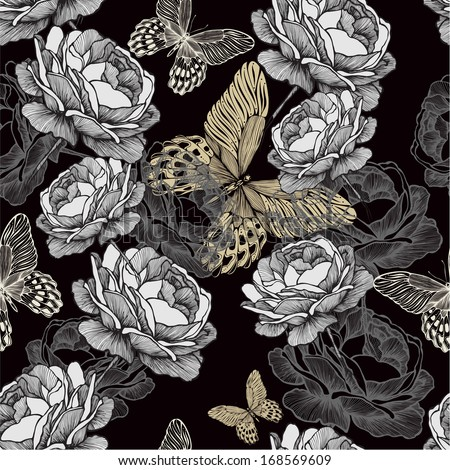 Seamless pattern with blooming roses and butterflies on black background. - stock vector