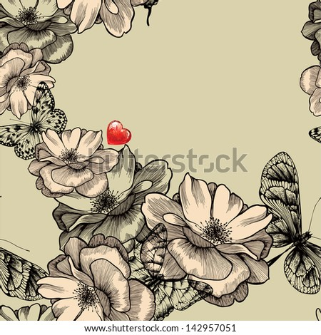 Seamless pattern with blooming roses, butterflies and red hearts. Vector illustration. - stock vector