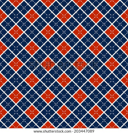Seamless pattern with blue and red diamonds. Vector background. - stock vector