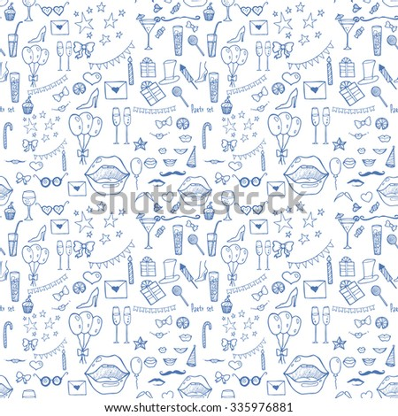 seamless pattern with  blue and white party elements
