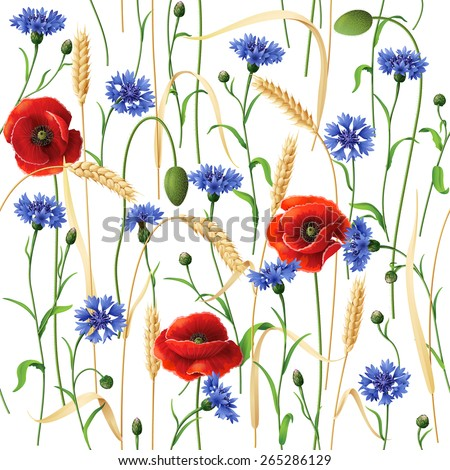 Seamless pattern with blue cornflowers, red poppies and wheat ears  on white. - stock vector