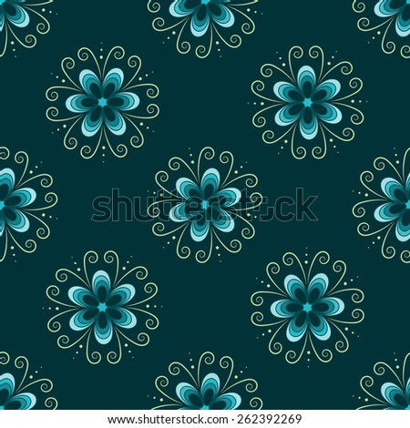 Seamless pattern with blue flowers - stock vector