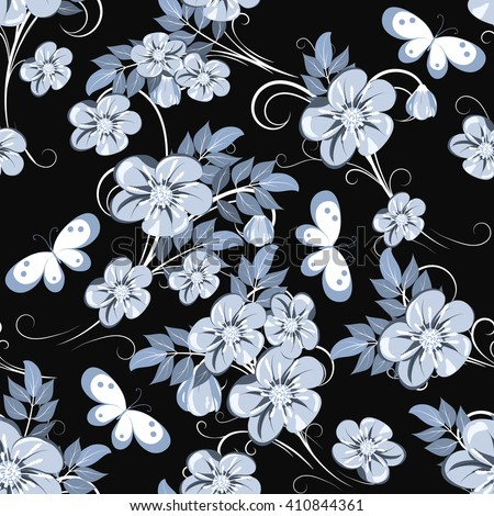 seamless pattern with blue-grey flowers and bud  on black background, vector illustration - stock vector