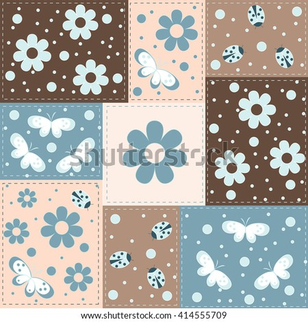seamless pattern with blue-grey flowers, butterflies and lady bug  on square background, vector illustration - stock vector