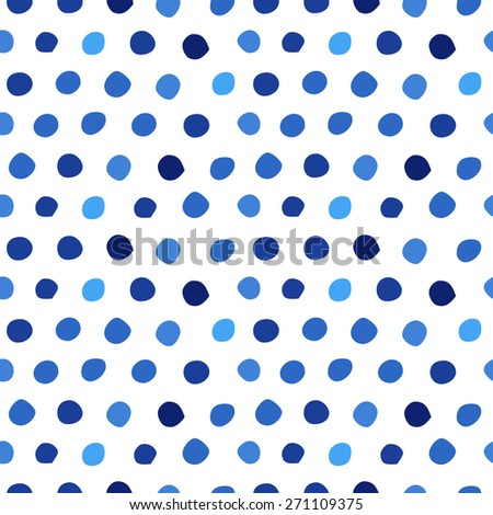 Seamless pattern with blue polka dots of different shades/ Hand drawn design element/ Abstract background - stock vector