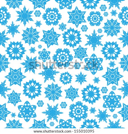 seamless pattern with blue snowflakes on a  white  background.winter background.vector - stock vector