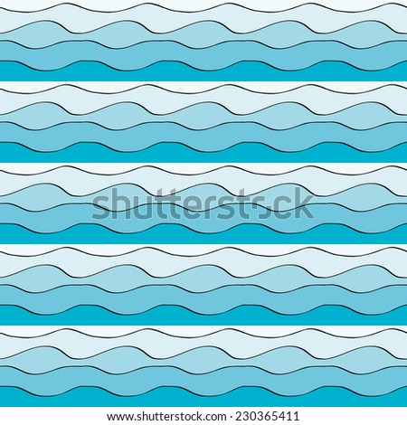 Seamless pattern with blue water waves - stock vector
