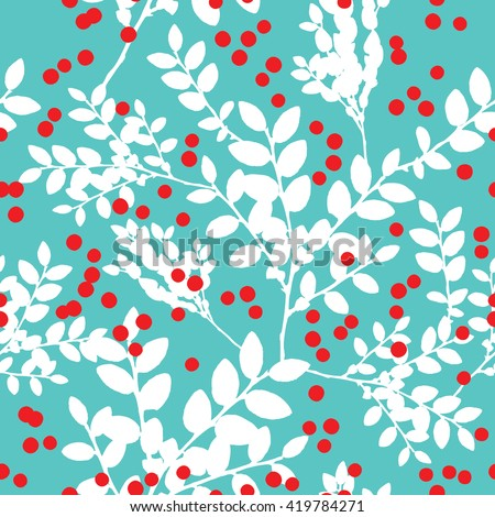Seamless pattern with blueberry bushes and berries - stock vector