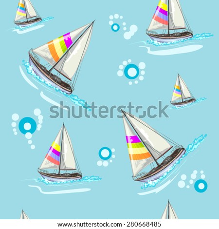 Seamless pattern with boat - stock vector