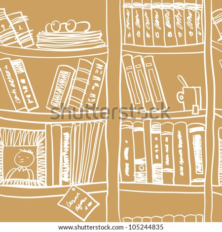 Seamless Pattern With Books And Bookshelves. - stock vector