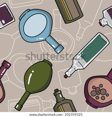 seamless pattern with bottles and kettles - stock vector