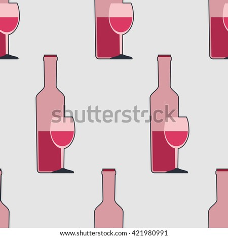 Seamless pattern with bottles of wine and glasses. Vector illustration.