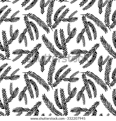 Seamless pattern with branches.  Ink illustration. Isolated on white background. Decorative twigs. - stock vector