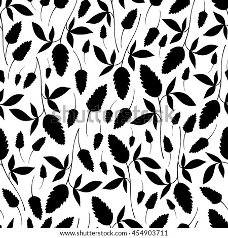 Seamless pattern with branches, leaves and flowers. Floral background. - stock vector