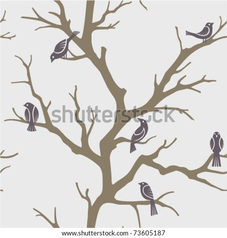 seamless pattern with branches' silhouette and birds - stock vector