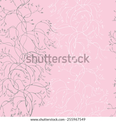 Seamless pattern with branches with leaves. Vector illustration