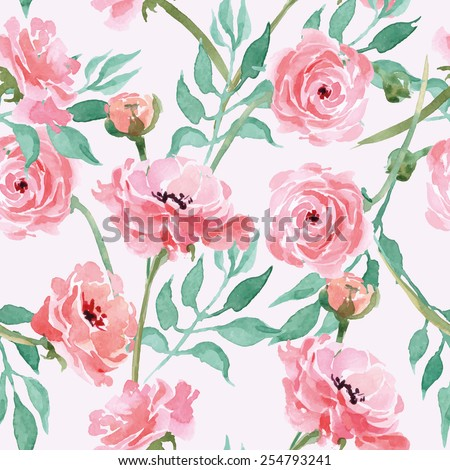 Seamless pattern with branches with Watercolor  blooming Ranunculus. Vector illustration - stock vector