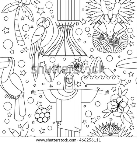 Seamless pattern with Brazil symbols. Illustration with main country attractions and sights. Flat style. For paper, textile design, fabric.