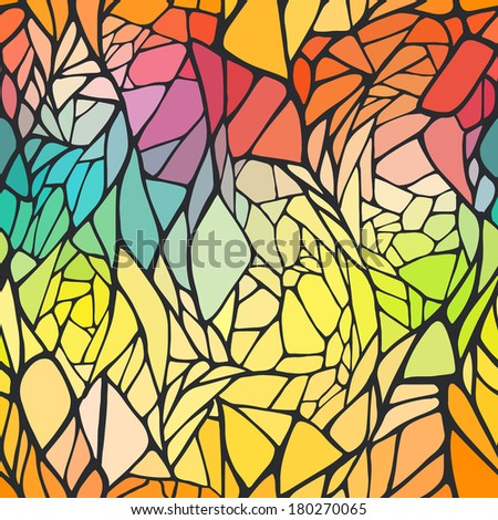Seamless pattern with bright colorful hand drawn abstract geometric ornament. Vector illustration  - stock vector