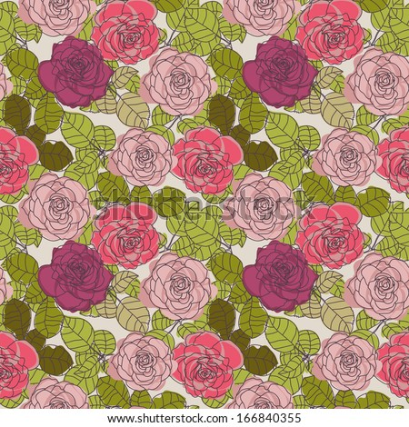 Seamless pattern with bright roses, vector illustration