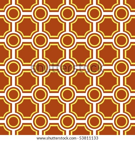 Seamless pattern with brown tiles - stock vector