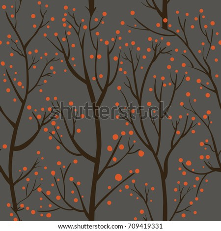 Seamless pattern with brown trees and red berries on gray background. Vector illustration.