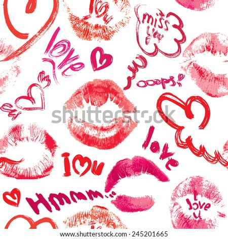 Seamless pattern with brush strokes and scribbles in heart shapes, lips prints and words LOVE, I LOVE YOU - Valentines Day Background. - stock vector