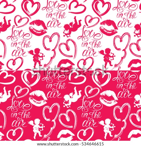 Seamless pattern with brush strokes and scribbles in heart shapes, lips prints, angels and calligraphic hand written text Love in the air. Valentines Day holiday background.