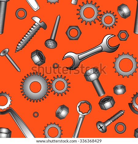 Seamless pattern with building tools on an orange background - stock vector