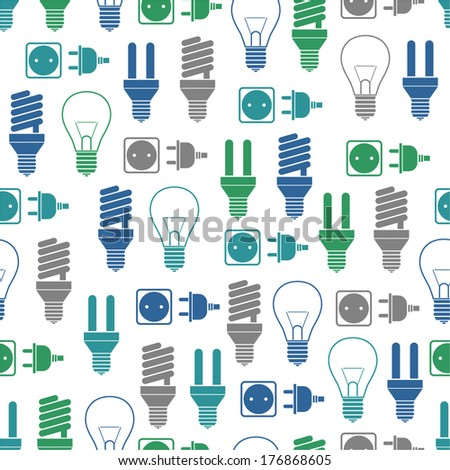 Seamless pattern with bulbs and socket - stock vector
