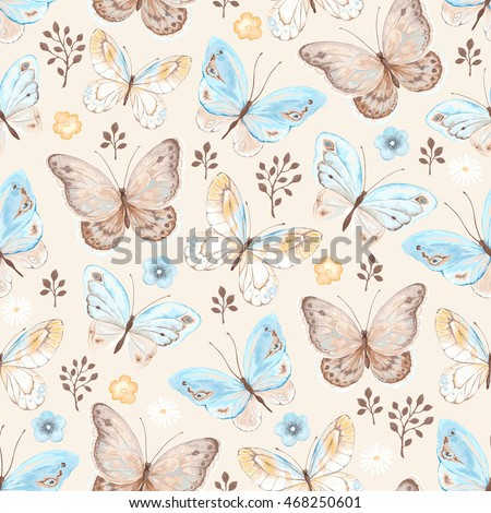 Seamless pattern with butterflies and flowers blue, yellow, beige and brown colors, vector illustration in vintage style.
