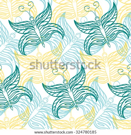 Seamless pattern with butterflies contours for you creativity