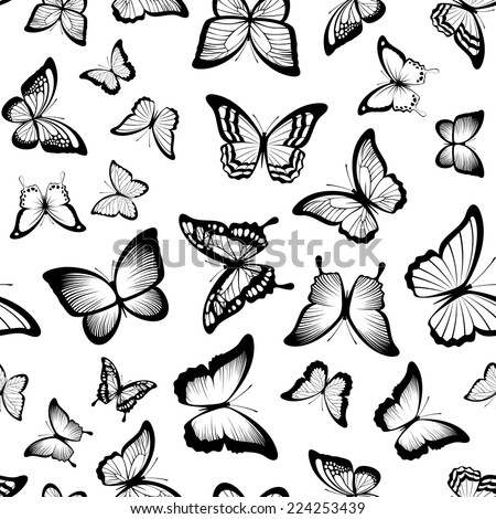 seamless pattern with butterflies in black and white - stock vector