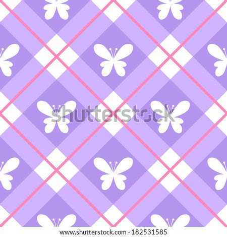 Seamless pattern with butterflies on purple gingham - stock vector