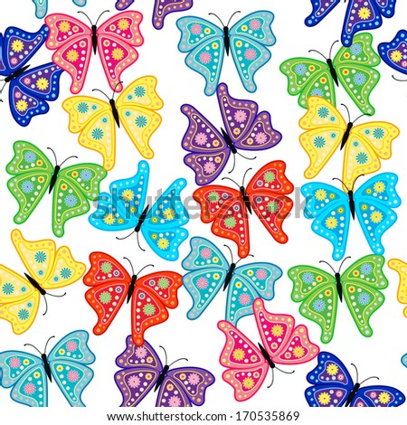 Seamless pattern with butterfly & flower  - stock vector