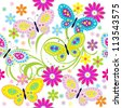 Seamless pattern with butterfly / Seamless pattern with colored butterflies and flowers - stock vector