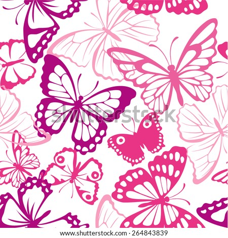 Seamless pattern with butterfly. Summer pink background with butterfly silhouettes  - stock vector