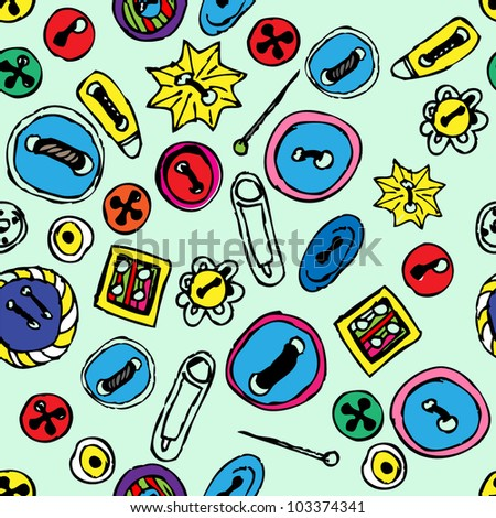 Seamless pattern with buttons - stock vector