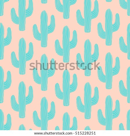 Seamless pattern with cactus in blue on pink background.