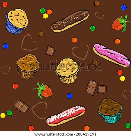 Seamless pattern with cakes, chocolate, hearts and muffins. Vector