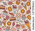 Seamless pattern with candies and sweets - stock