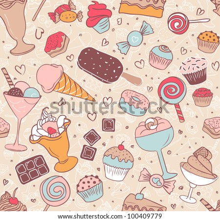 Seamless pattern with candies and sweets - stock vector