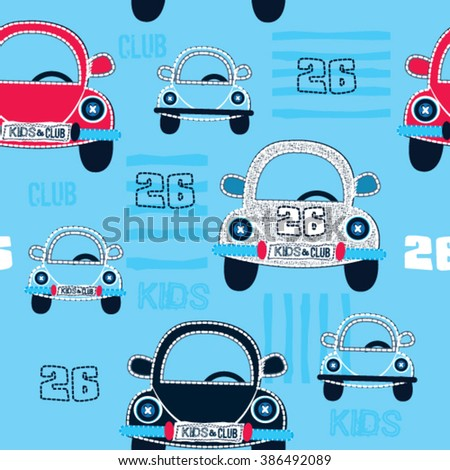 seamless pattern with car vector illustration - stock vector