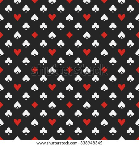 Seamless pattern with card suits - vector dark casino or poker gambling background