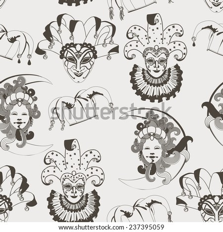 Seamless pattern with carnival venetian traditional masks on gray background. Monochrome vector illustration - stock vector