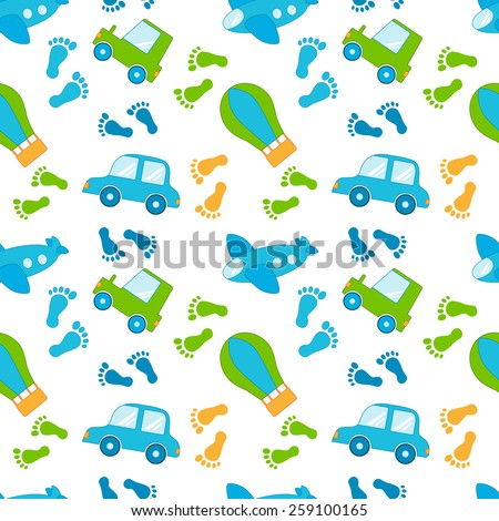 Seamless pattern with cars and plane - stock vector