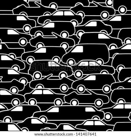 Seamless pattern with cars. Vector illustration. - stock vector