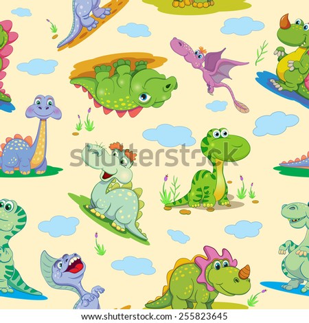 Seamless pattern with cartoon amusing decorative dinosaurs. - stock vector